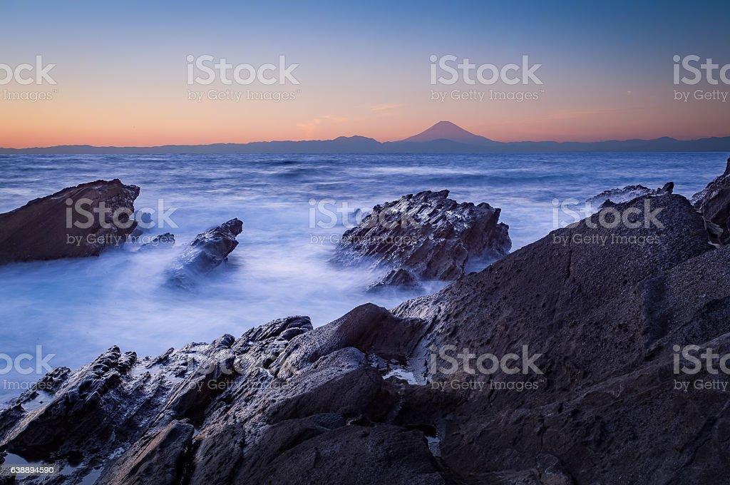 Mt.Fuji and sea in winter season stock photo