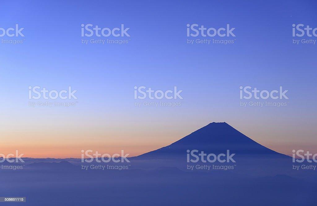 Mt.Fuji and Sea of clouds at dawn stock photo