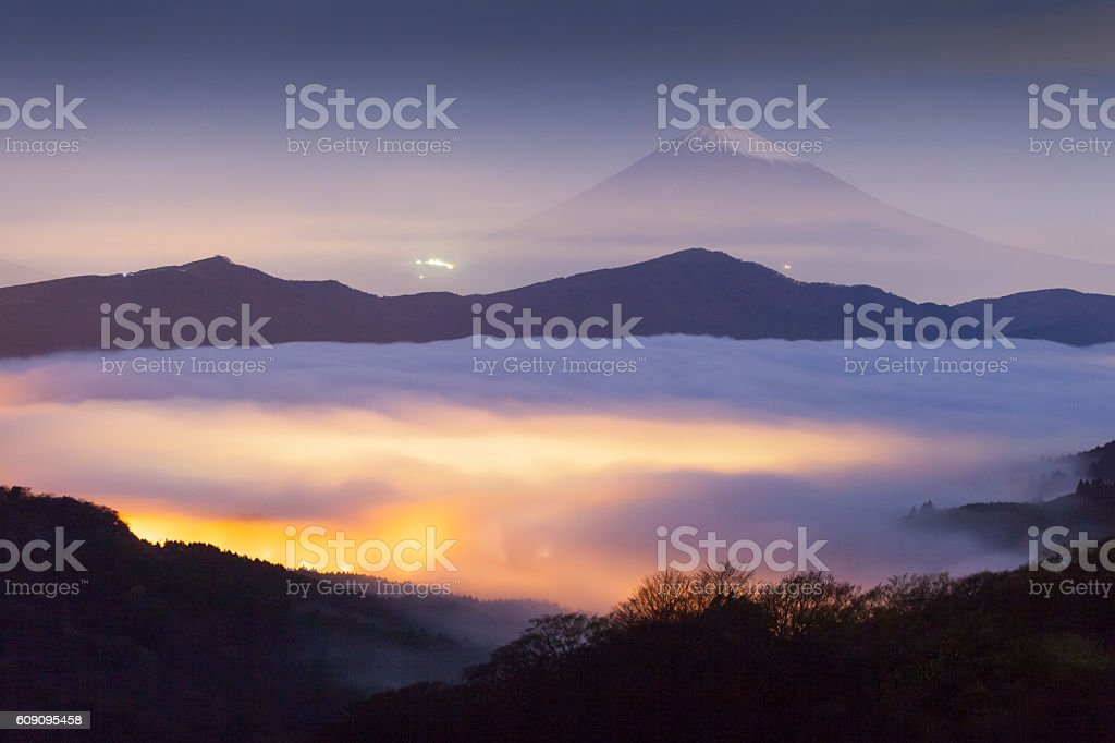 Mt.fuji and sea of mist above lake ashi stock photo
