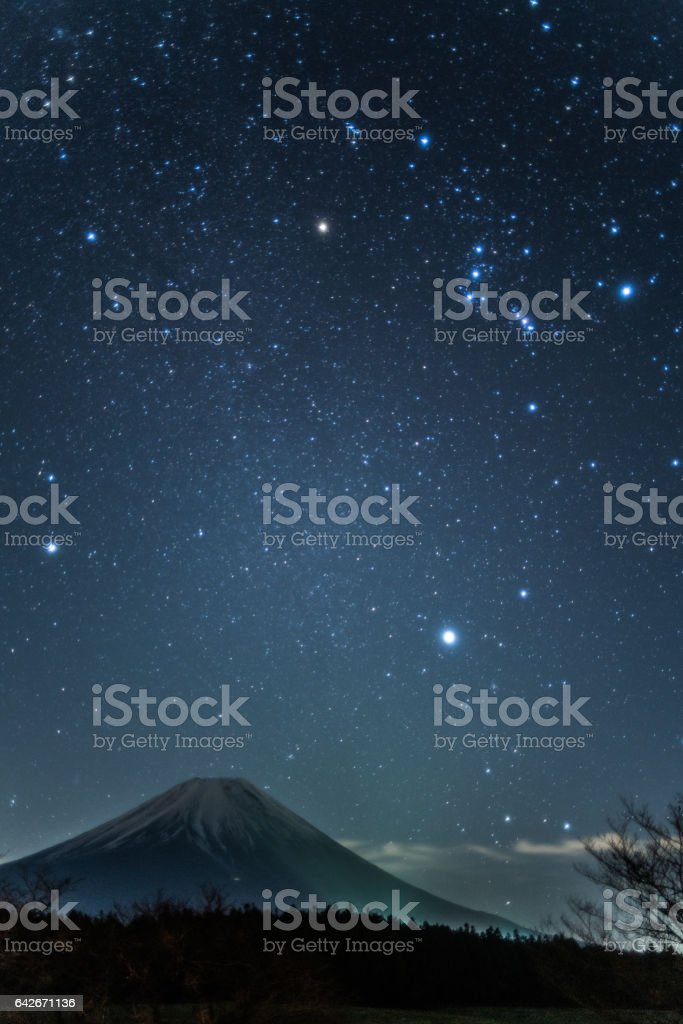 Mt.Fuji and starry sky at Asakiri-plateau,Yamanashi,tourism of Japan stock photo