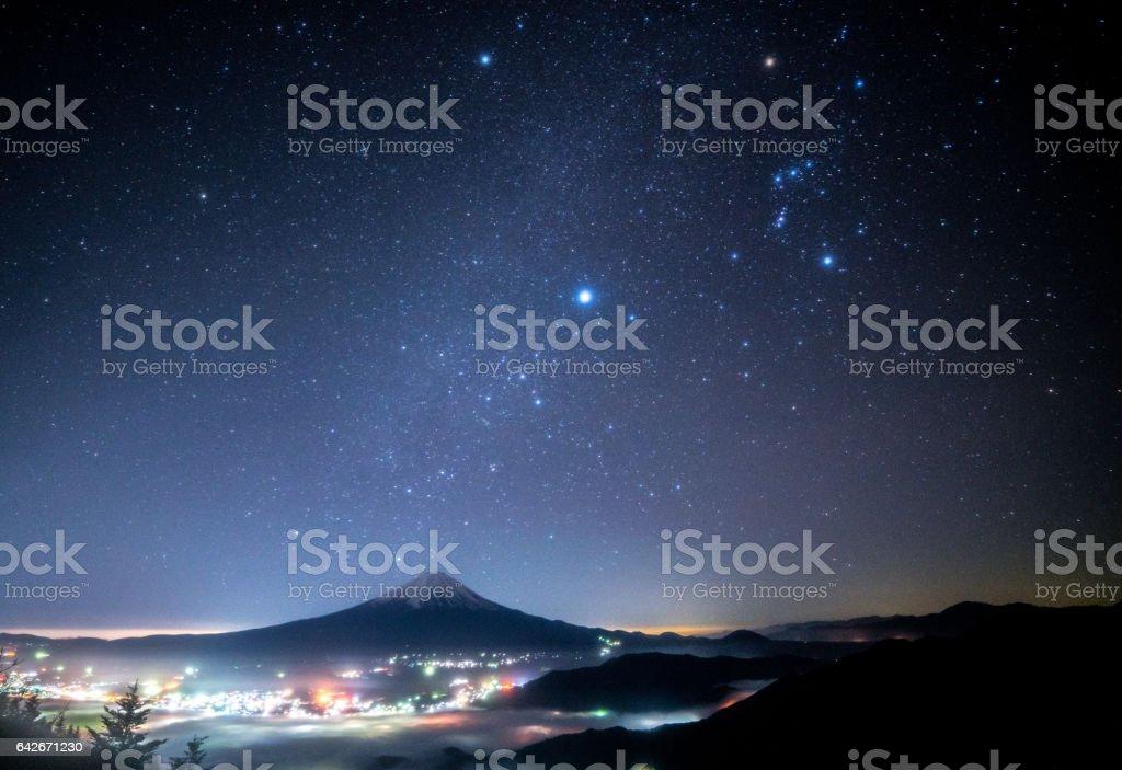 Mt.Fuji and starry sky at Shinmichi-mountainpass,Yamanashi,tourism of Japan stock photo