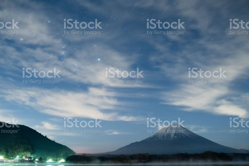 Mt.Fuji and starry sky at Shouji-lake,Yamanashi,tourism of Japan stock photo