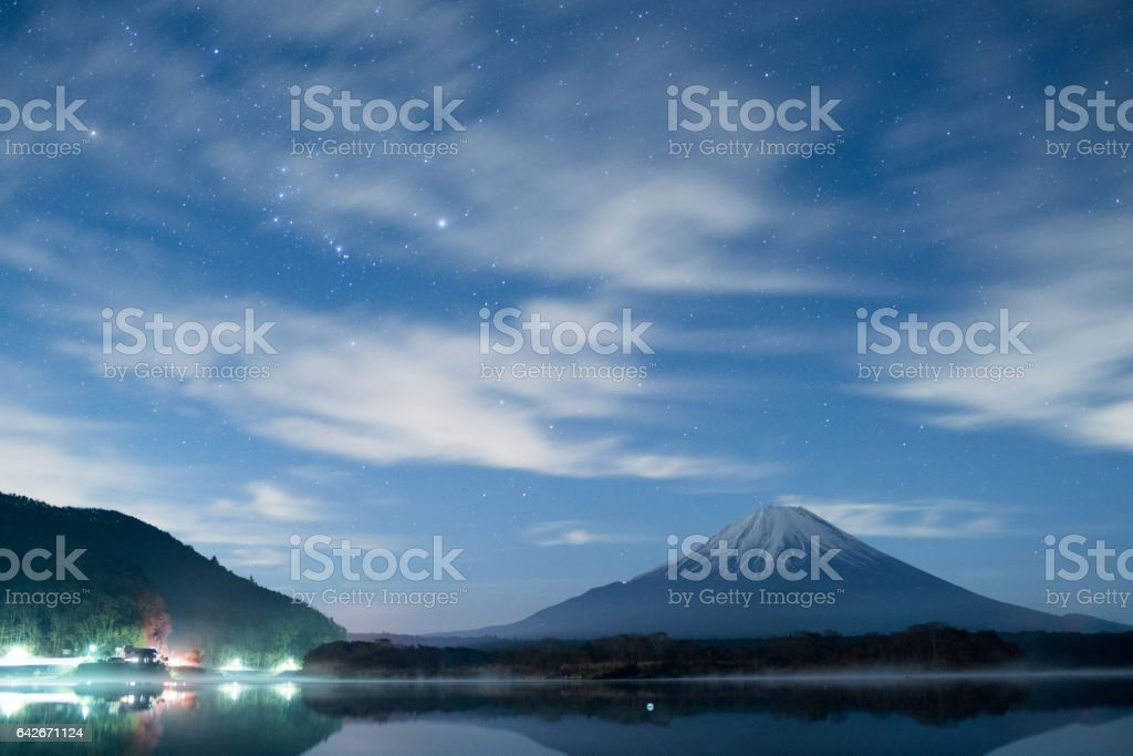 Mt.Fuji and starry sky at Shouji-lake,Yamanashi,tourism of Japan ストックフォト