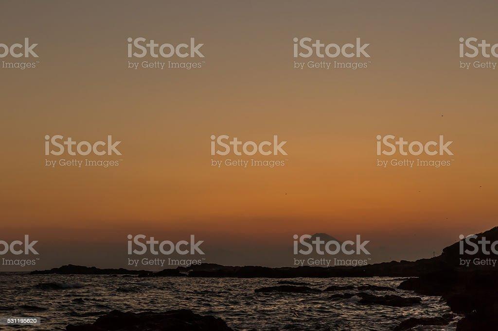 Mt.Fuji at sunset stock photo