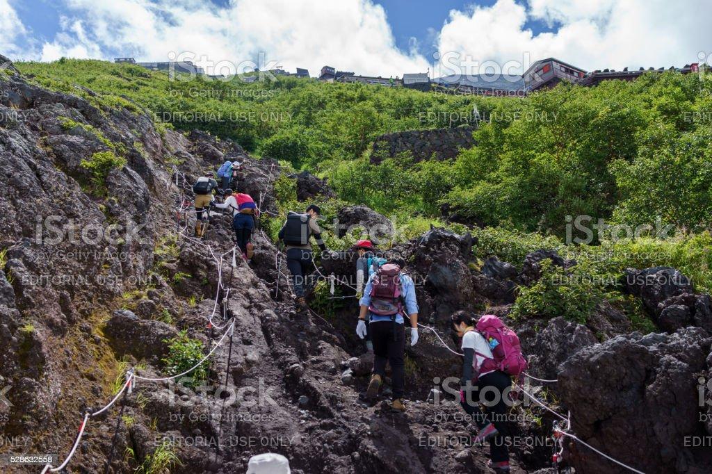 Mt.Fuji hikers stock photo