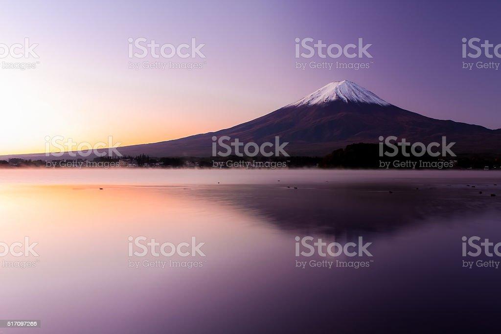 Mt.Fuji of the morning glow stock photo
