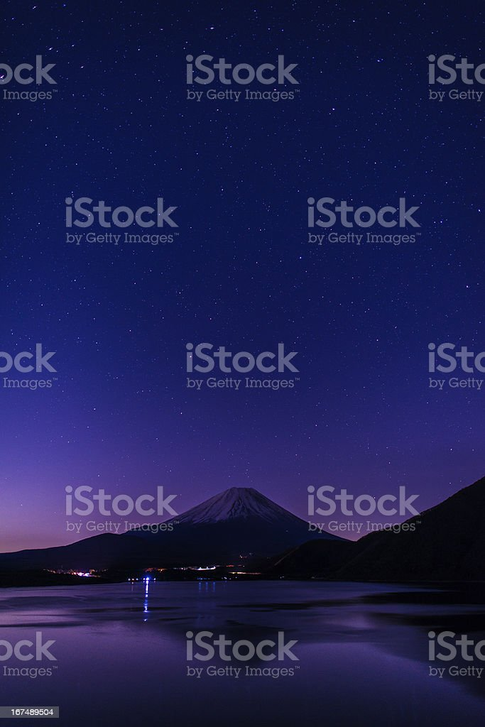 Mt.Fuji with Starry sky landscape and Copyspace royalty-free stock photo