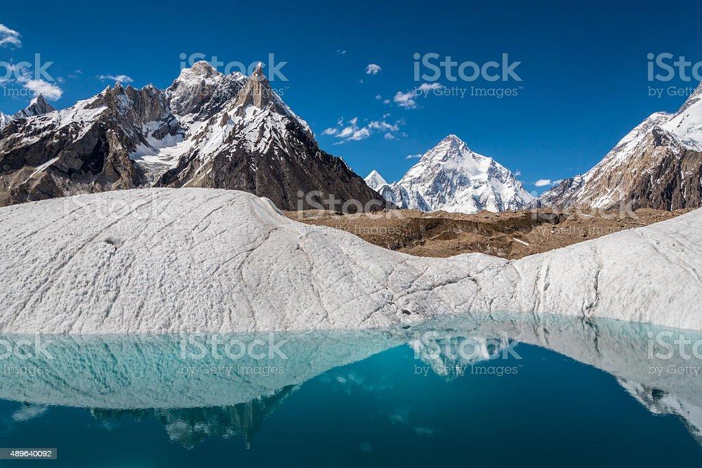 Mt.K2 reflection stock photo