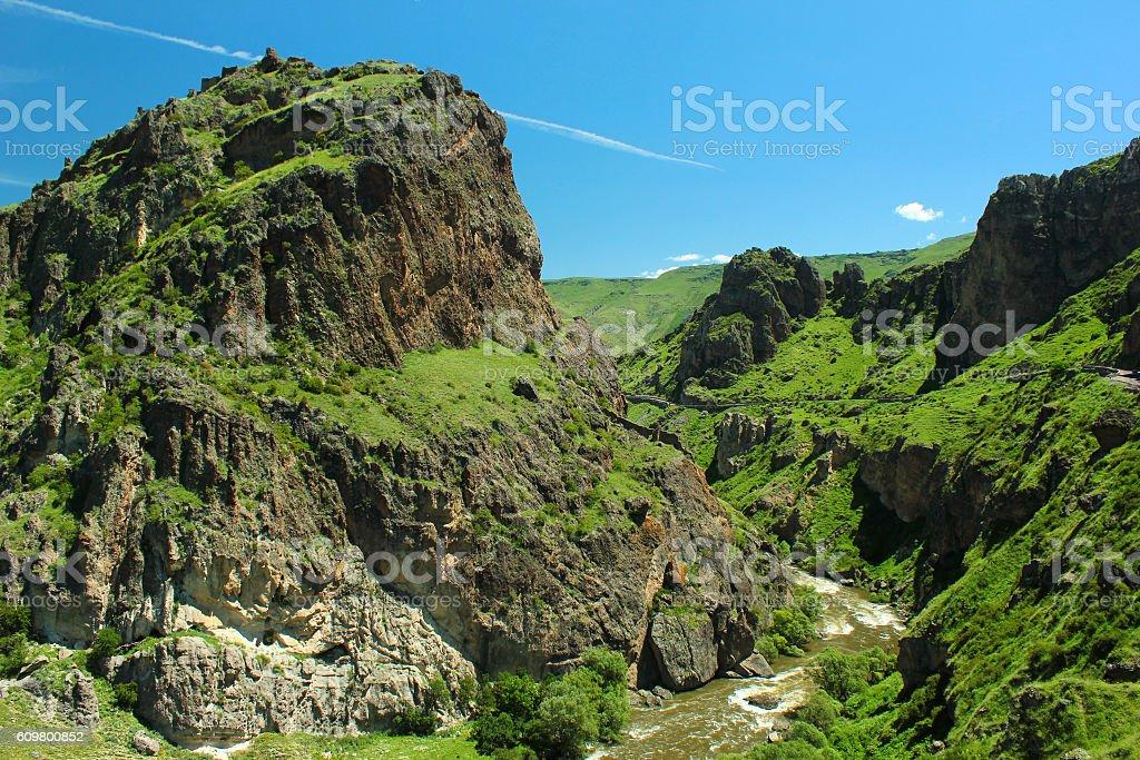 Mtkvari or Kura river gorge near Tmogvi, Georgia stock photo
