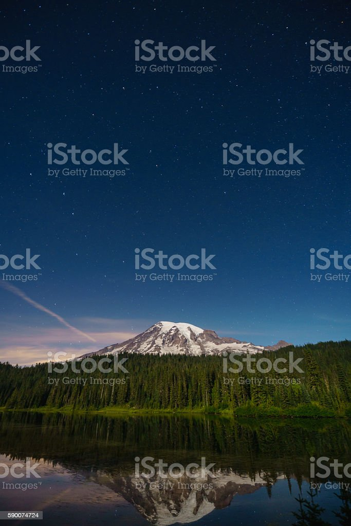 Mt.Rainier in a starry night royalty-free stock photo