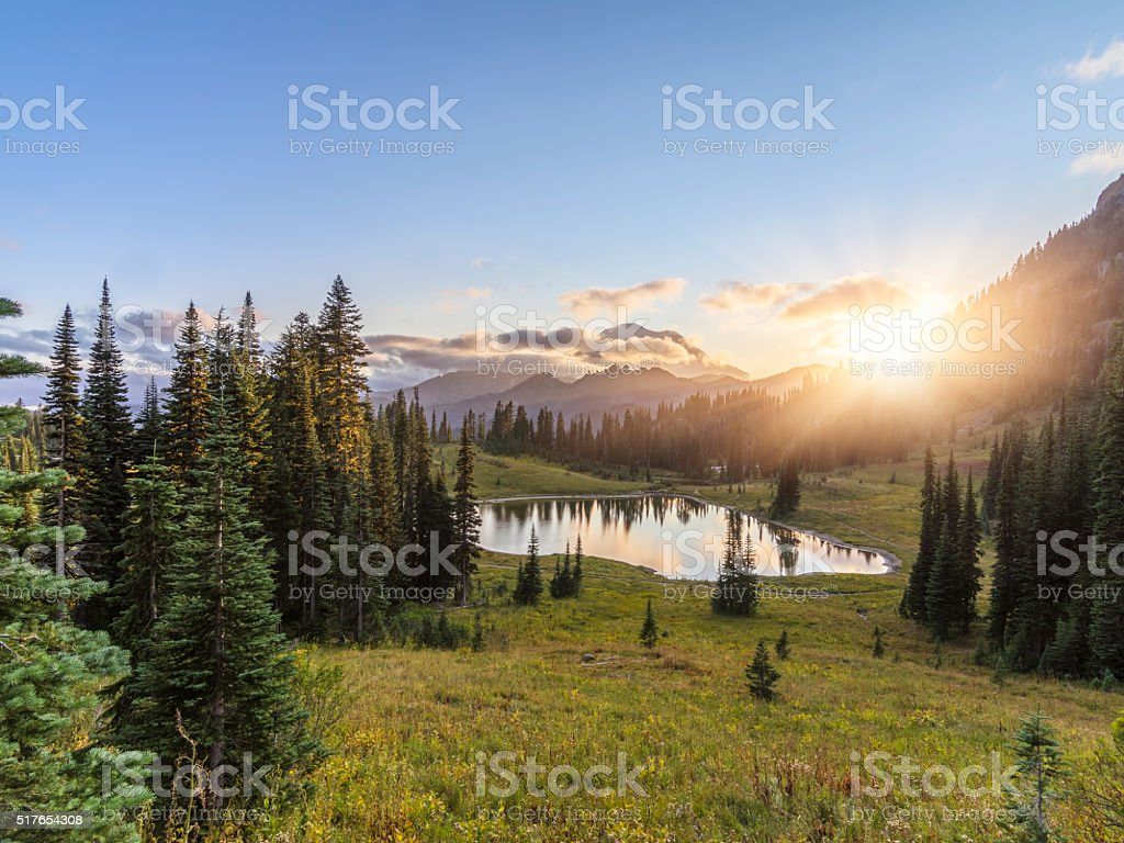 MT.Rainier in sunset stock photo