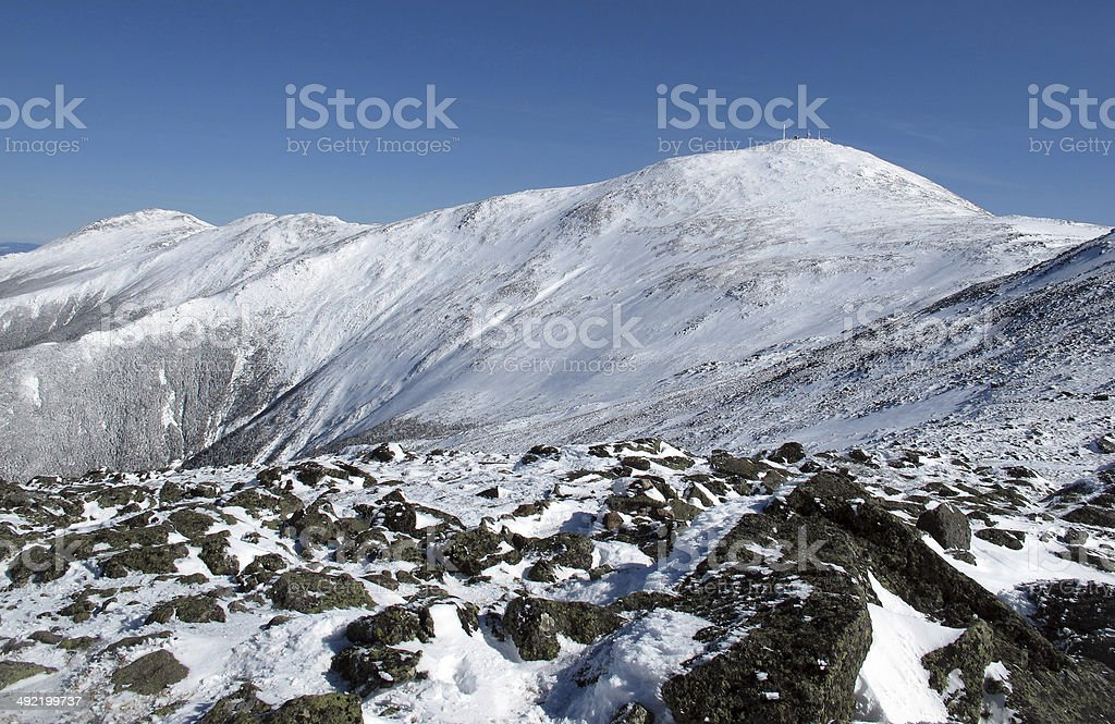 Mts Jefferson, Clay, and Washington in Winter stock photo