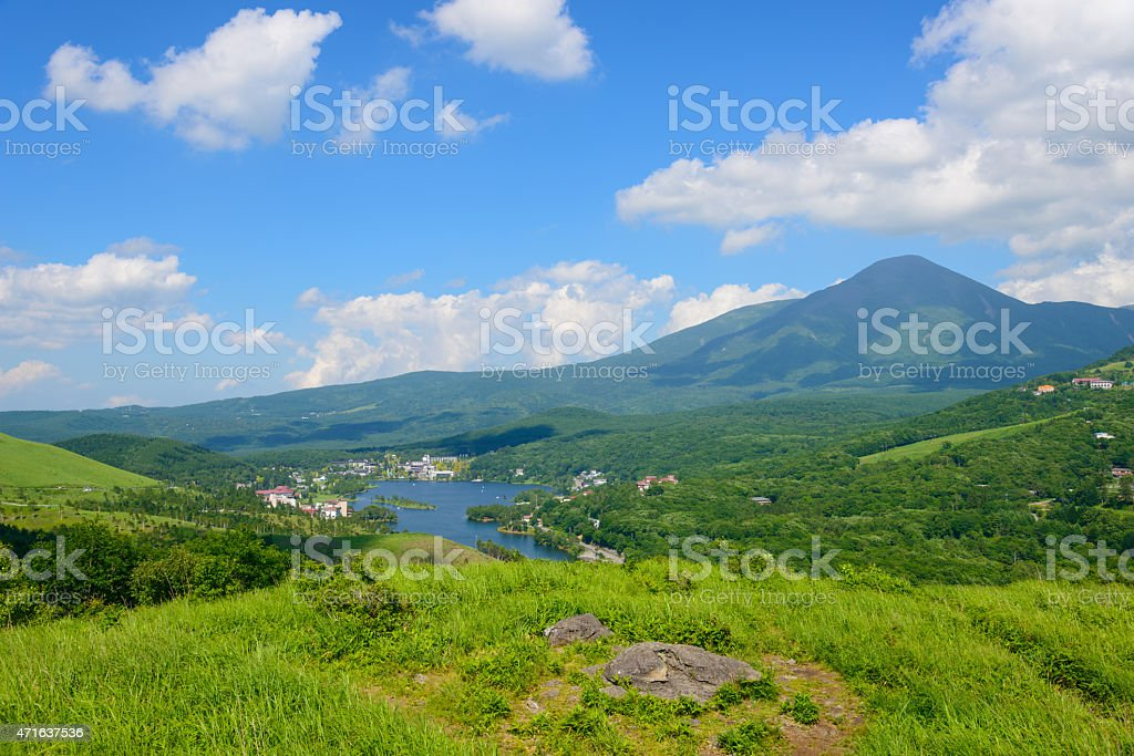 Mt.Tateshina and Lake Shirakaba stock photo