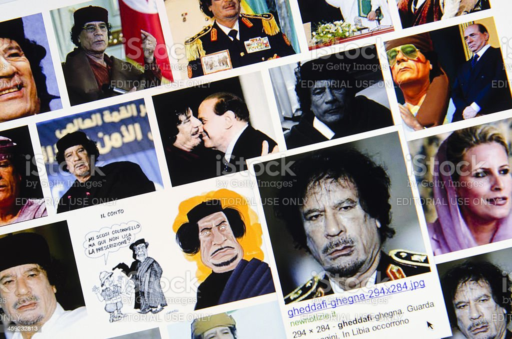 Muammar Gheddafi photo research on Google images stock photo