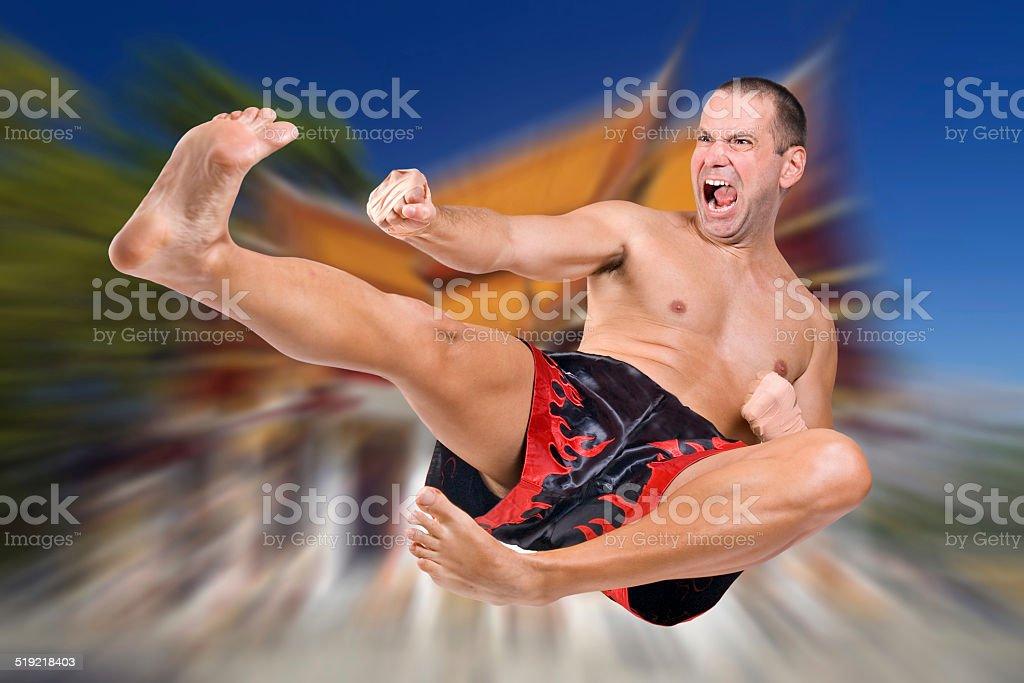 Muay Thai fighter stock photo