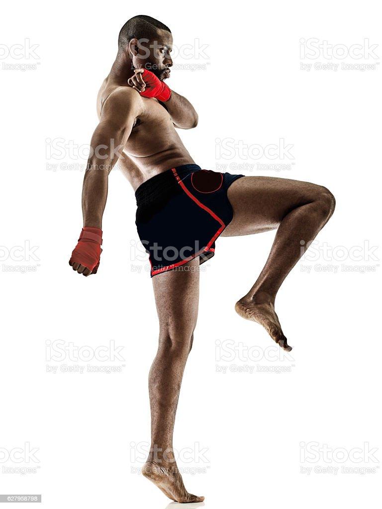 Muay Thai kickboxing kickboxer boxing man isolated stock photo