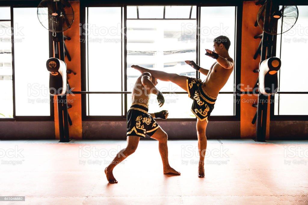 Muay Thai Motivational training at the gym facility stock photo
