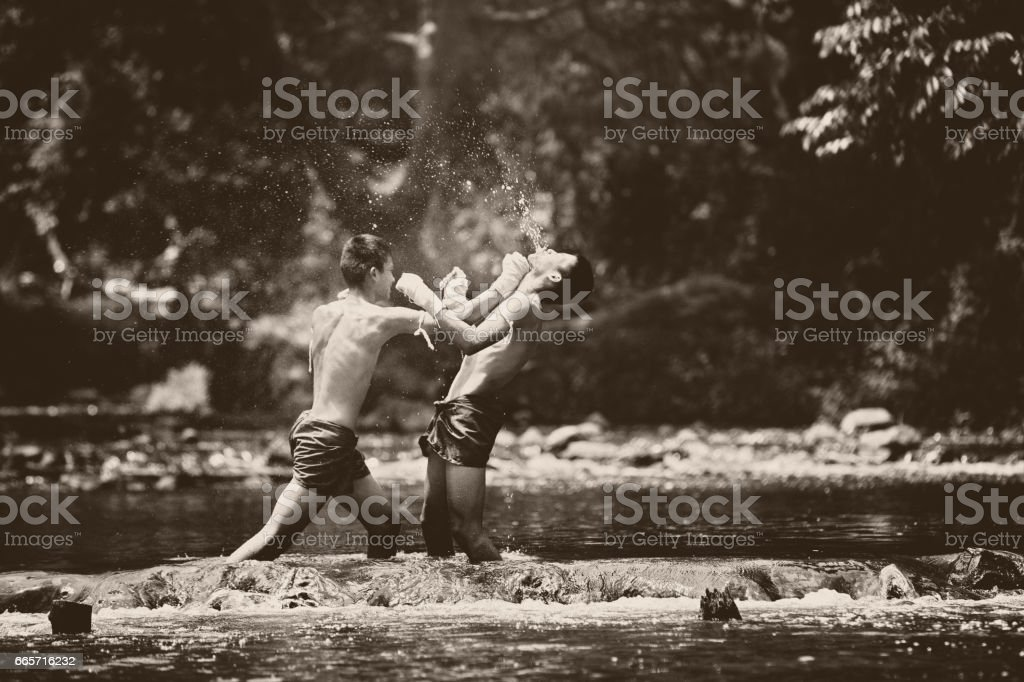 Muay thai or Thai boxing at Thailand stock photo