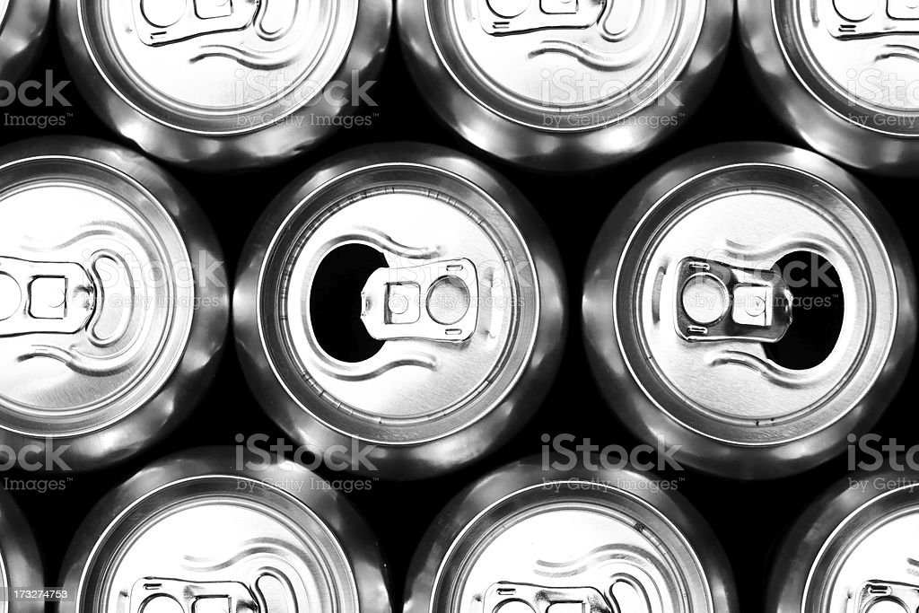 Much of drinking cans royalty-free stock photo