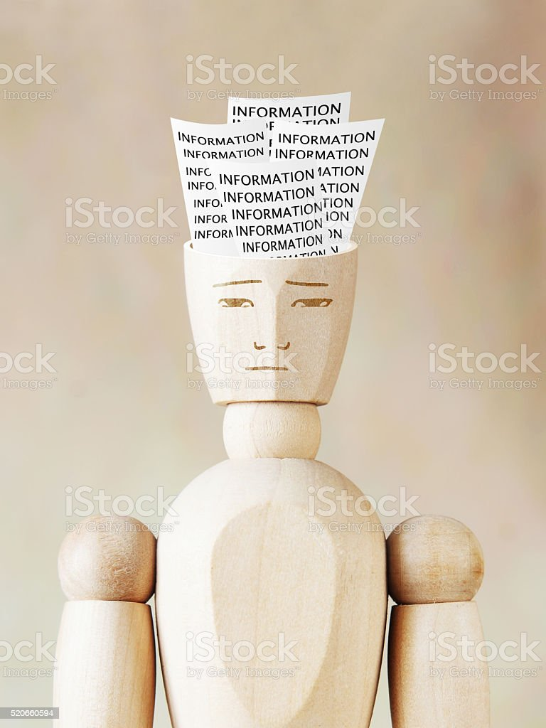 Much various information into the human head stock photo