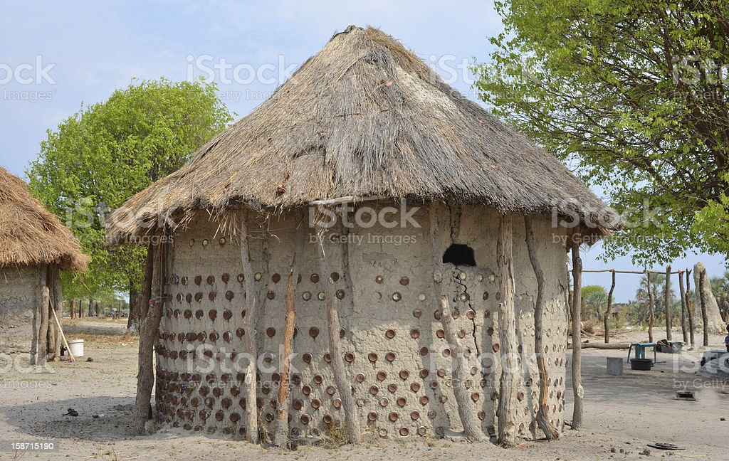 Mud and can hut, Africa royalty-free stock photo