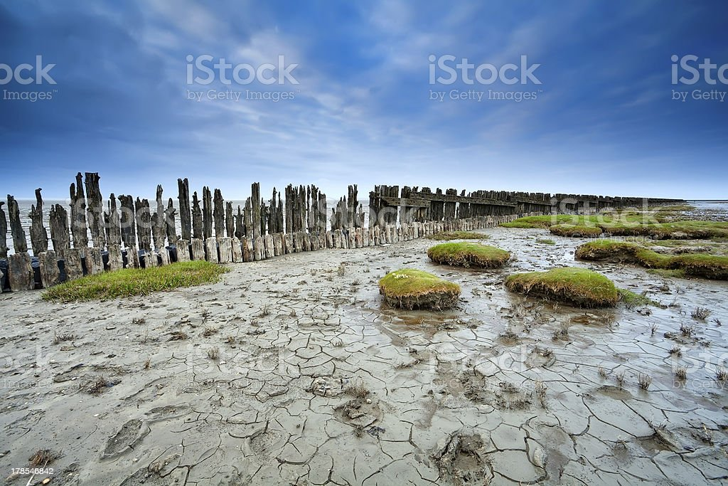 mud at low tide on Waddensee, Moddergat stock photo