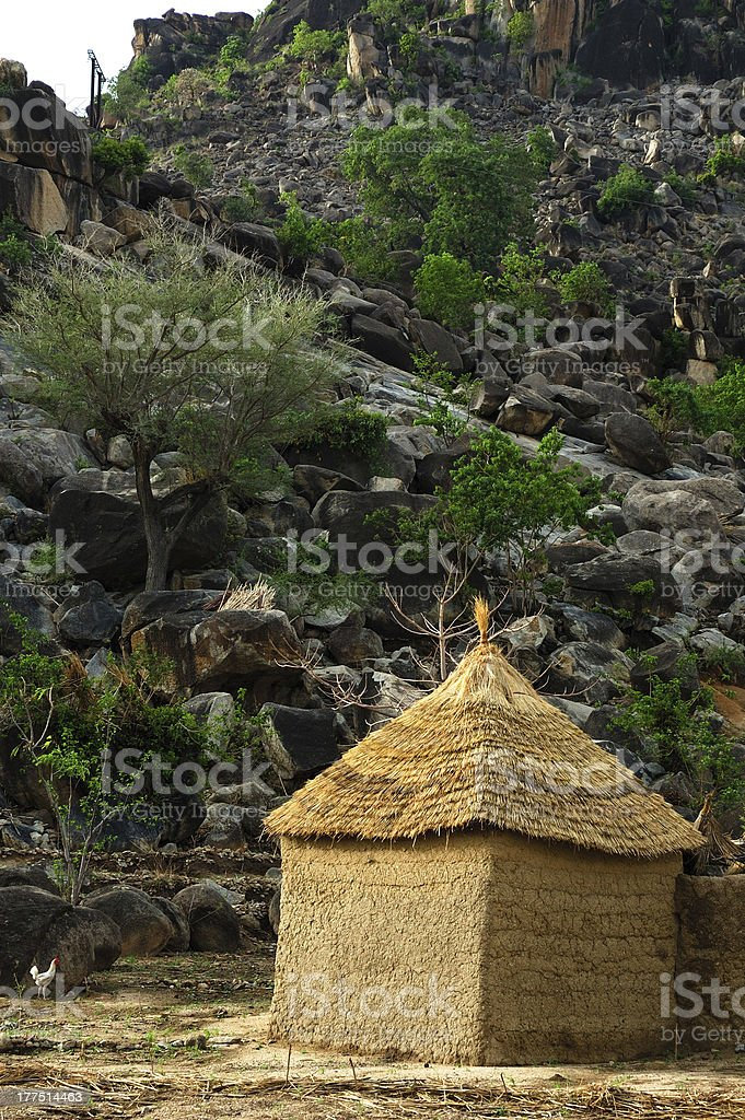 Mud house in West Africa stock photo