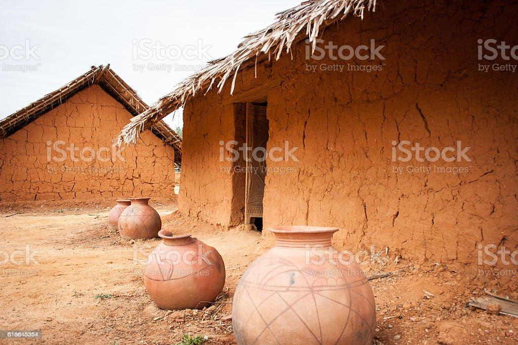 Mud Huts stock photo