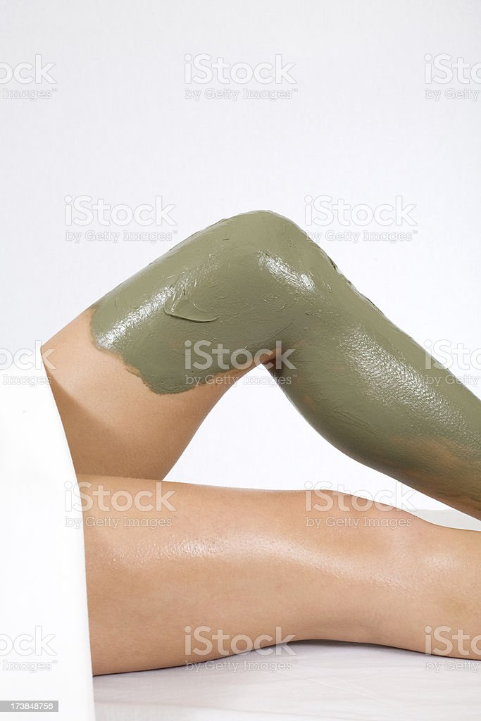 Mud Mask on Leg stock photo