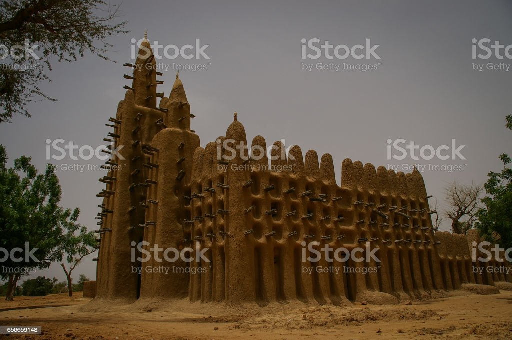 Mud Mosque in Kani-Kombole village, Dogon Country, Bandiagara, Mali stock photo