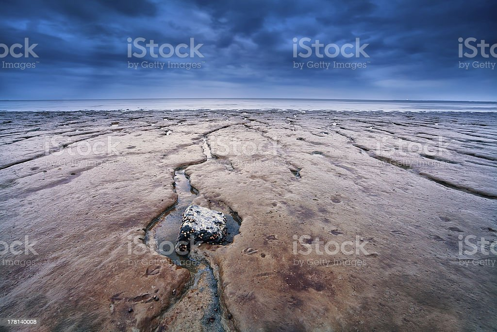 mud on North sea bottom at low tide stock photo