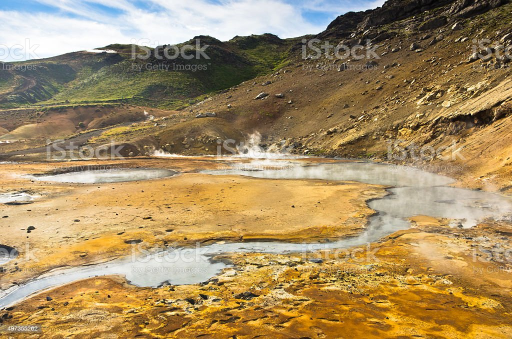 Mud pots and hot springs at Krysuvik geothermal area stock photo