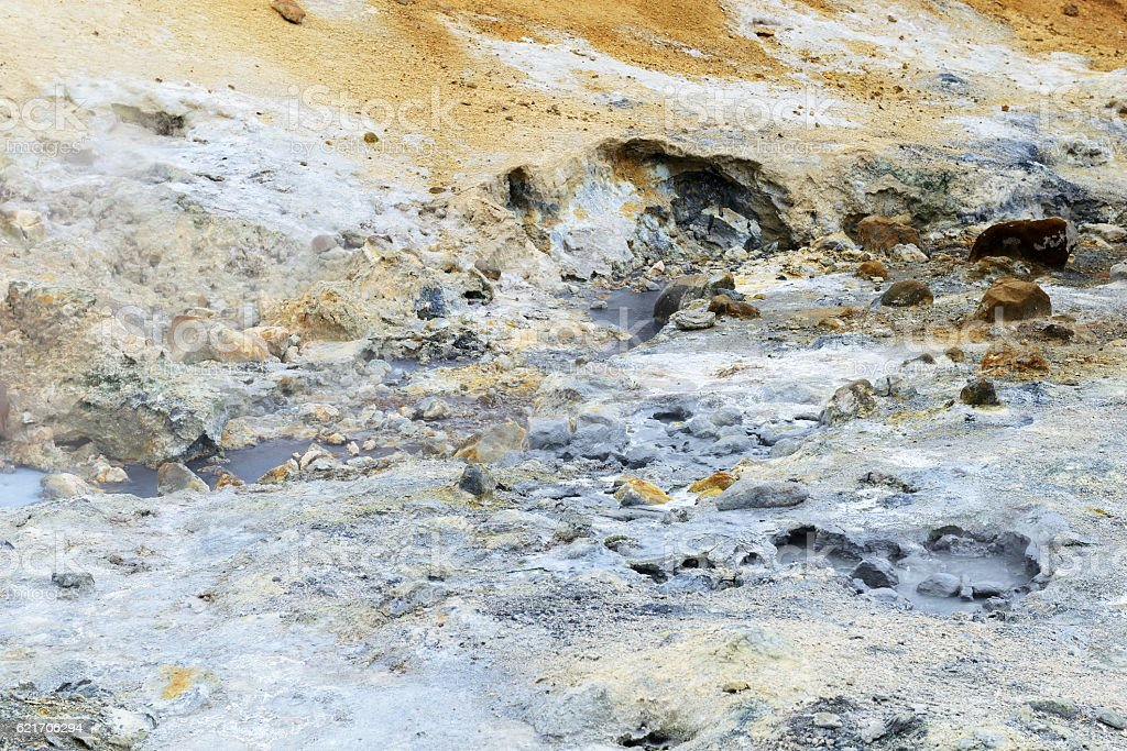 Mud pots and steam vents at Seltun Hot Springs stock photo