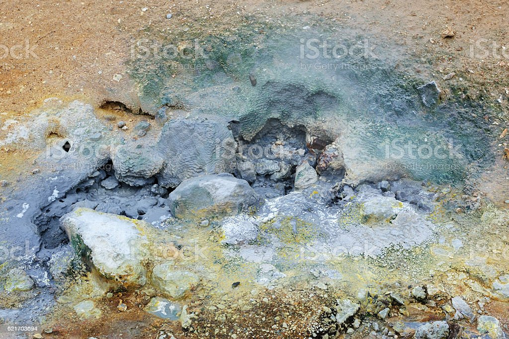 Mud pots at Seltun stock photo