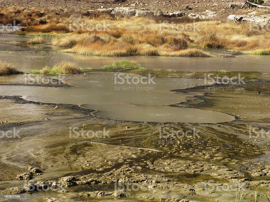 Mud Pots Hot Spring Yellowstone stock photo