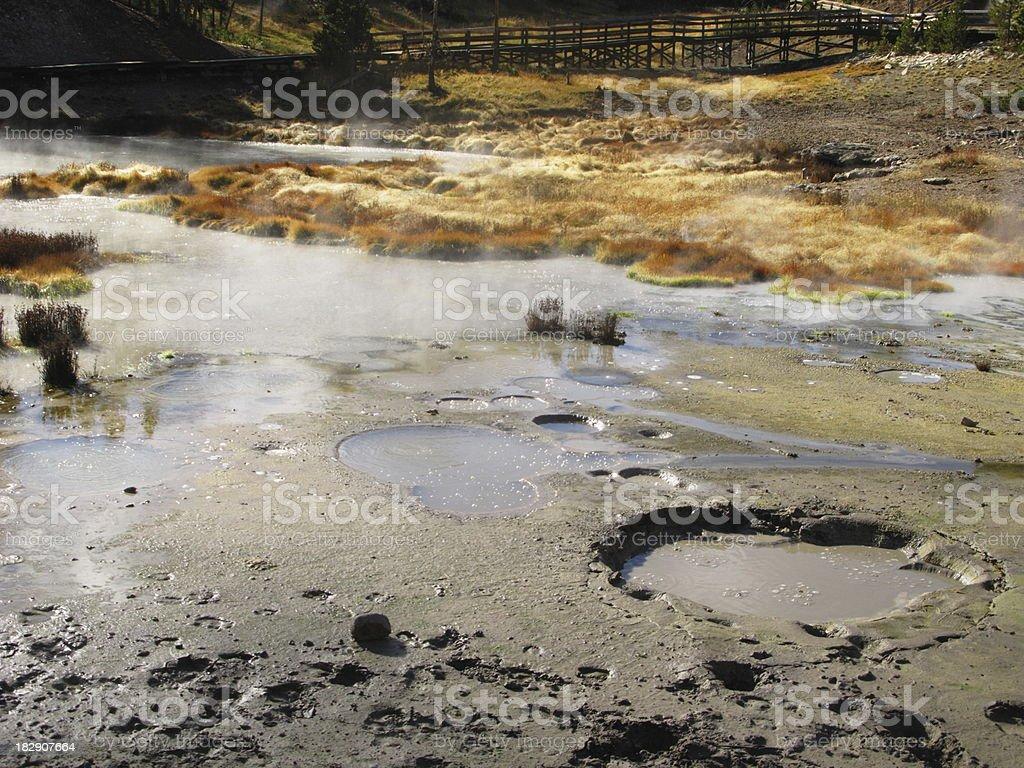 Mud Pots Volcanic Yellowstone National Park stock photo