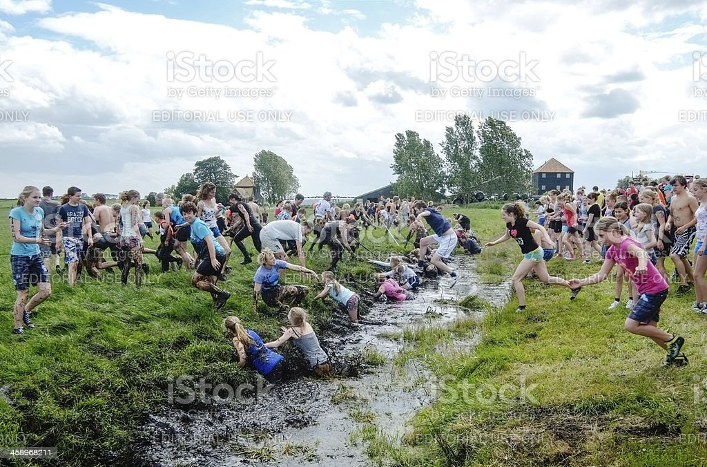 Mud run in Monnickendam royalty-free stock photo