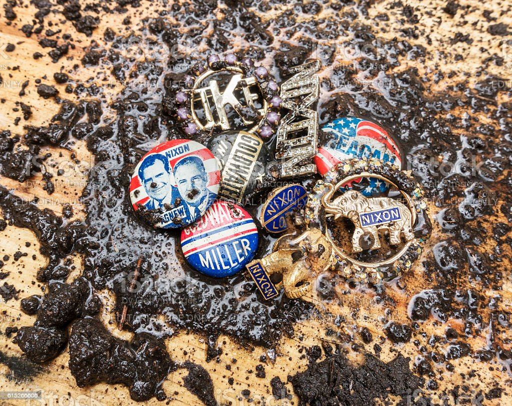 mud splattered Republican Party campaign pins stock photo
