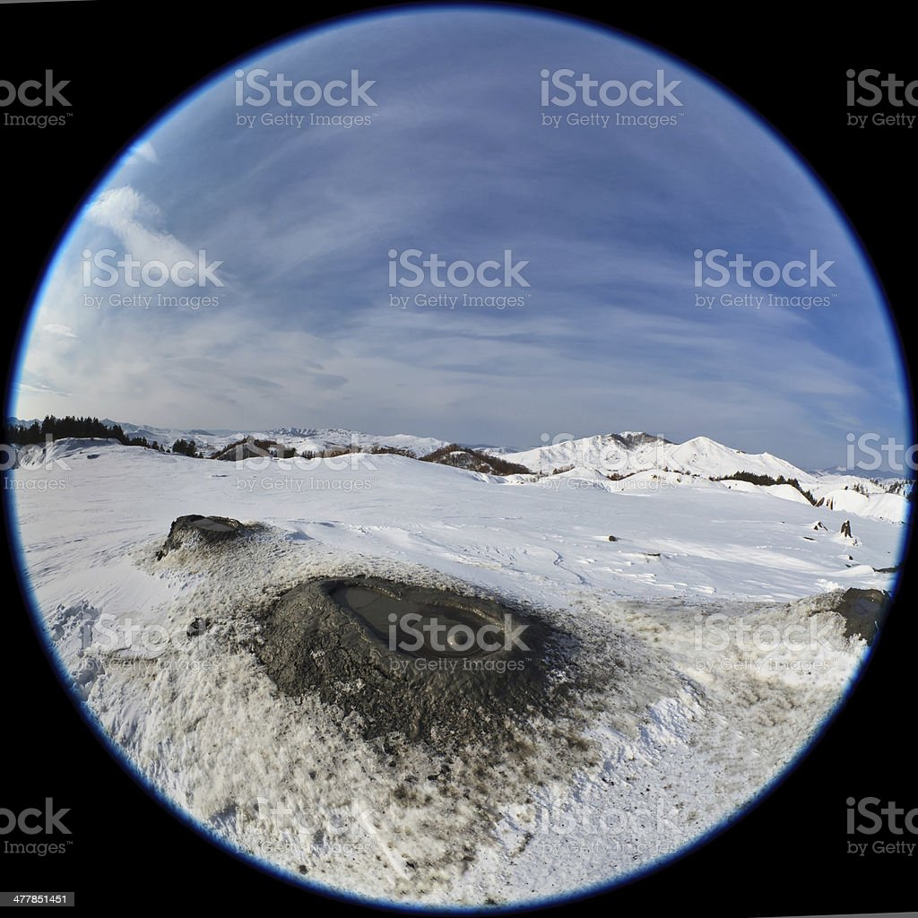 Mud Volcanoes in winter. Buzau, Romania stock photo