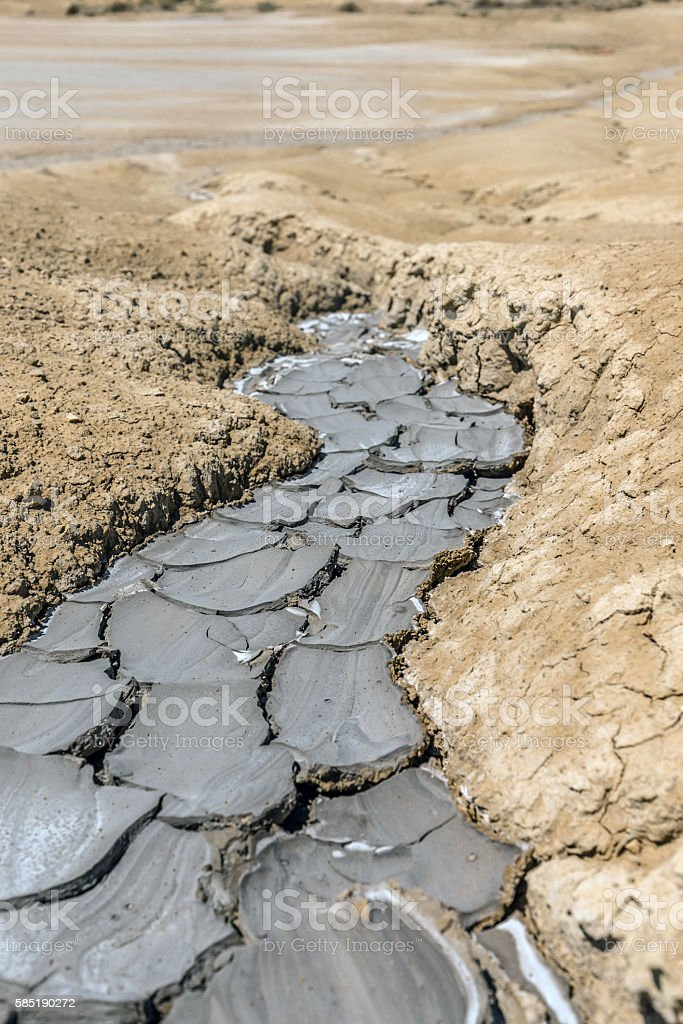 Mud volcanoes stock photo