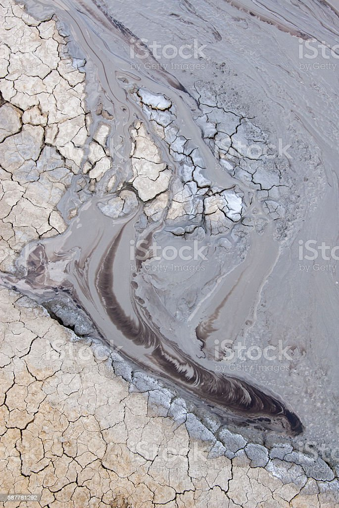 Mud Volcanoes - Texture and eruption -Romania, Buzau, Berca stock photo