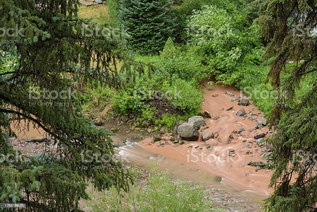 Muddy Creek Flowing into Clear Mountain Stream royalty-free stock photo