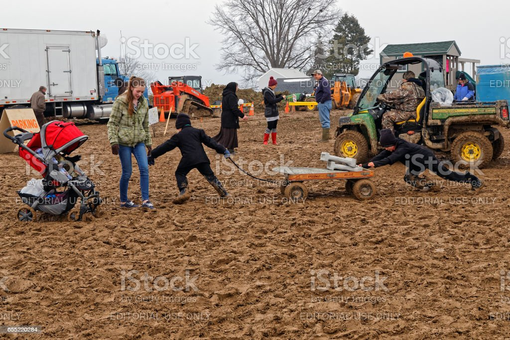Muddy Day at a Lancaster County Auction stock photo
