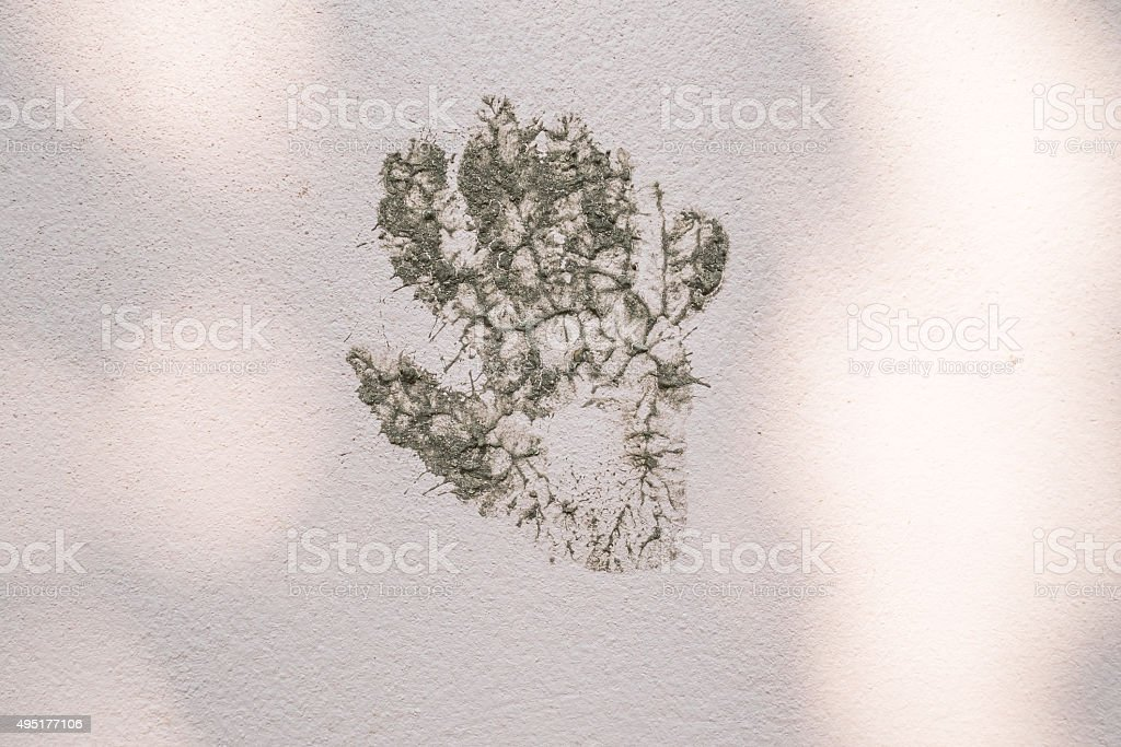 muddy hand print graffiti on wall. stock photo