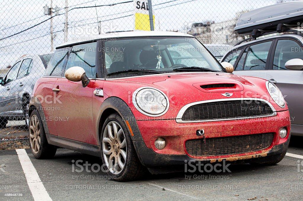 Muddy Mini Cooper S royalty-free stock photo
