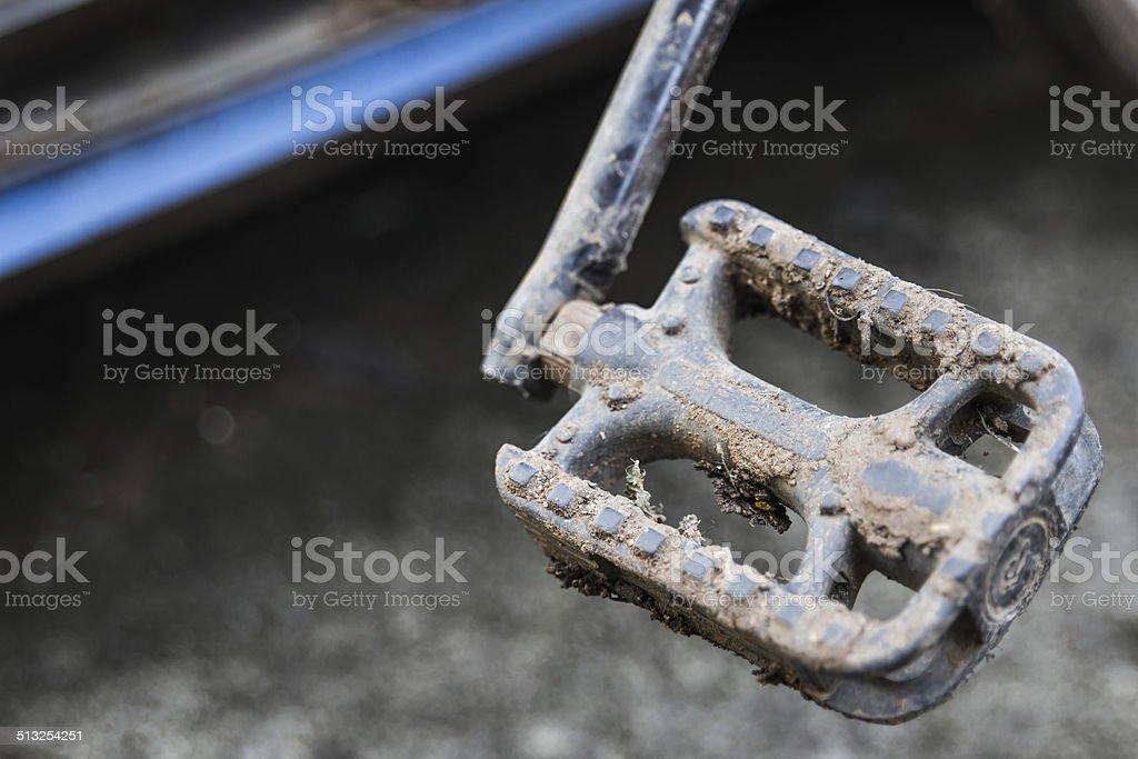 Muddy mountain bike transmission stock photo