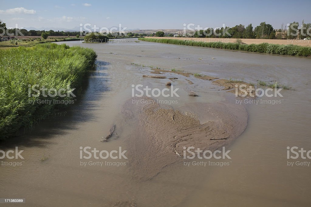 Muddy Rio Grande River stock photo