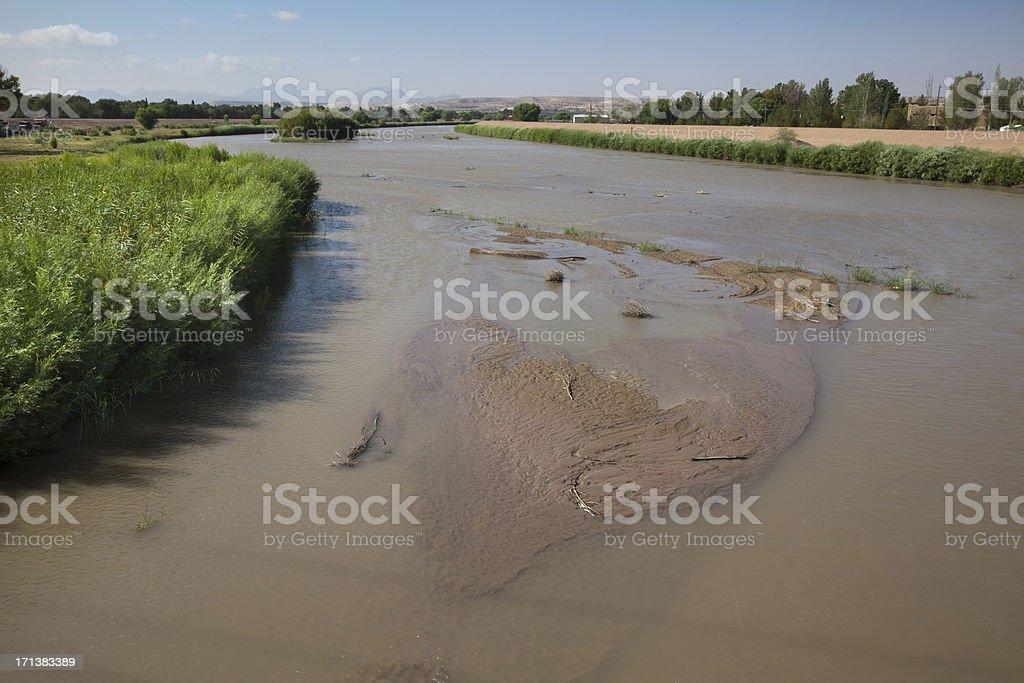Muddy Rio Grande River stock photo
