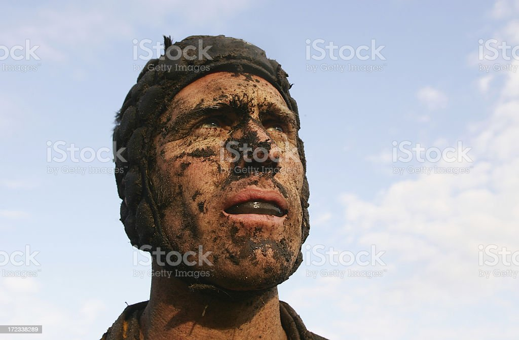 Muddy Rugby Player royalty-free stock photo