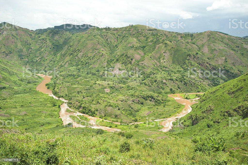 Muddy Ruziz River between Rwanda and Burundi Central Africa royalty-free stock photo